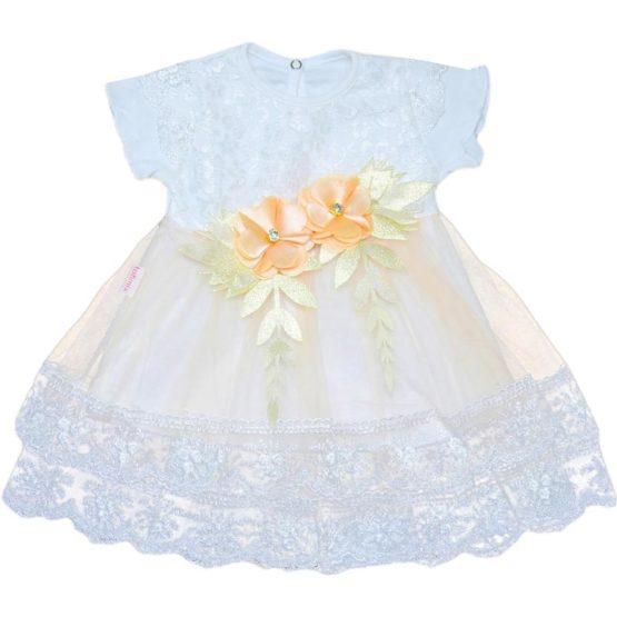 Rochiță pentru botez cu mânecă scurtă