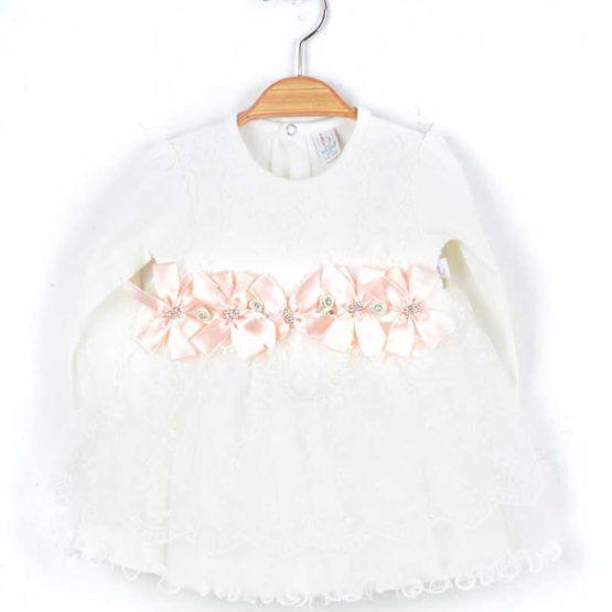 Rochiță de botez cu dantelă